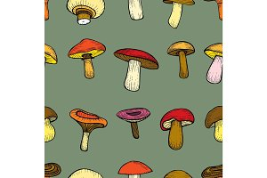 seamless pattern with mushrooms.