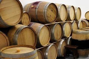Pile of wine wooden barrels