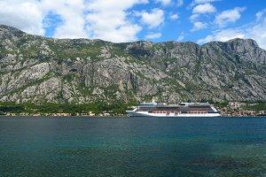 Cruise liner near coast