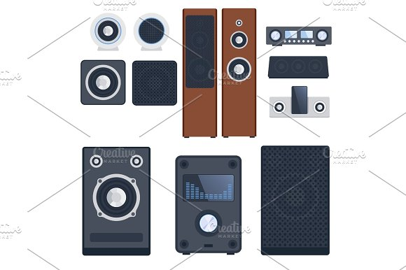 Home Sound System Stereo Flat Vector Music Loudspeakers Player Subwoofer Equipment Technology