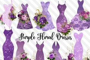 Purple Floral Dresses Clipart