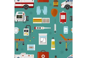 Medical icons set care ambulance emergency hospital vector illustration seamless pattern