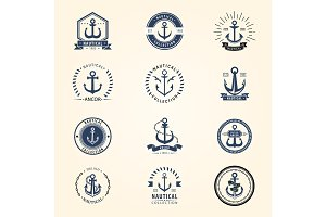 Vintage retro anchor badge vector sign sea ocean graphic element nautical naval symbol illustration