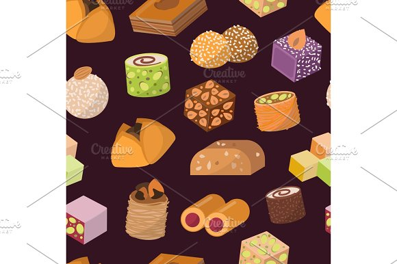 Candies Sweets Dessert From East Isolated Food Vector Seamless Pattern