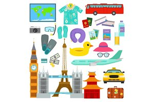 Travel time summer vacation vector symbols in flat style traveling and tourism icons accessories illustration