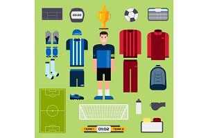 Football elements soccer player uniform clothing and symbols sport game vector illustration