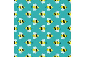 Cartoon sweet yellow bee summer worker bug hand drawn seamless pattern honey nature nector.