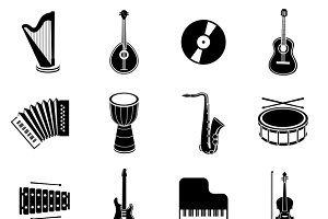 Black Music Instrument Icons