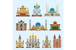Cathedral church dfferent religion creed temple traditional building landmark tourism vector illustration