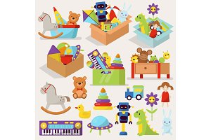 Boxes of kid toys vector illustration stuffed blocks cartoon cute graphic play childhood gift container.