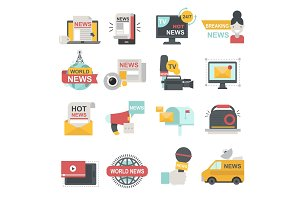 Mass media icons set with telecommunications radio beaking news broadcast TV or website symbols flat isolated vector illustration