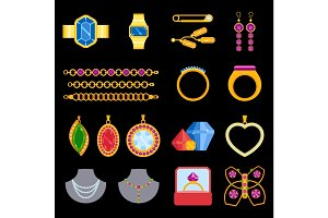 Traditional golden jewellery bangles diamond luxury necklace precious jewelery vector illustration