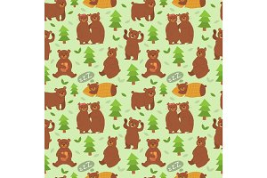 Cartoon bear character different pose vector seamless pattern