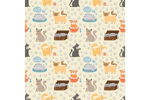 Cute cats character different pose vector seamless pattern
