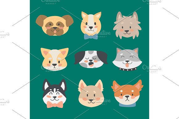 Funny Cartoon Dog Character Heads Bread Cartoon Puppy Friendly Adorable Canine Vector Illustration