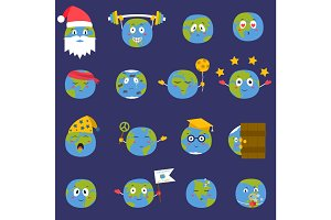 Cartoon globe Earth emojji smile face character expression and blue planet vector illustration.