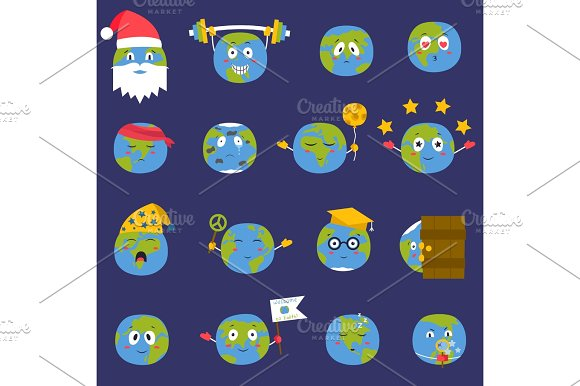 Cartoon Globe Earth Emojji Smile Face Character Expression And Blue Planet Vector Illustration