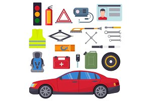 Auto car repair service symbols isolated shop worker maintenance transportation automotive mechanic vector illustration.