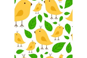 Seamless pattern vibrant branch with canary yellow bird vector illustration on white background