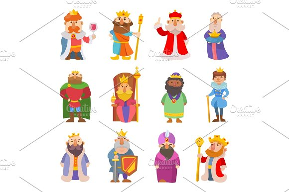 Different Cute Cartoon Kings Characters Vector Set Collection Man Isolated On White