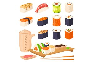 Sushi japanese cuisine traditional food flat healthy gourmet icons asia meal culture roll vector illustration. Text Tea Time on teapot