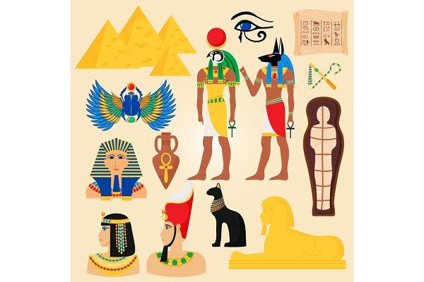Egypt symbols and landmarks ancient…
