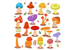 Different cartoon mushrooms isolated on white nature food design collection fungus plant vector illustration