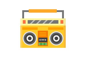 Retro blaster cassette tape recorder stereo record equipment audio music sound player vector illustration.