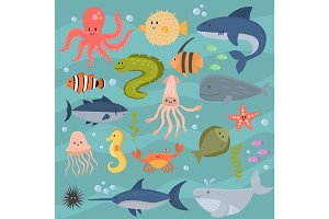 Sea life underwater cartoon animals cute marine characters fish aquarium tropical aquatic vector illustration.