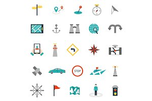 Navigation flat style location pin pictogram direction and search design web icons sign vector illustration.