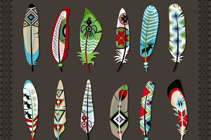 Feathers painted with ethnic pattern