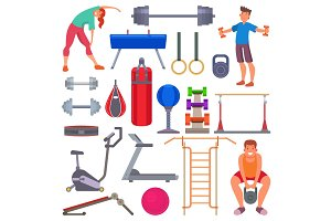 Sport gym equipment flat style icons and characters healthy people training exercise vector illustration