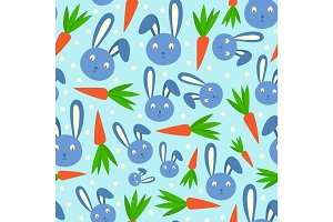Happy adorable rabbit cartoon character face head cheerful mammal and carrot holiday seamless pattern