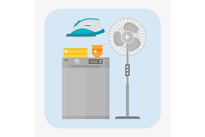 Dishwasher stainless kitchen appliance house domestic equipment vector illustration