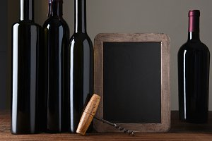 Wine Bottles and Chalk Board