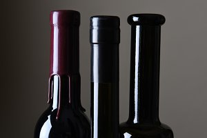 Wine Bottle Necks Closeup
