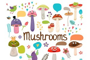 Cute cartoon mushrooms with faces