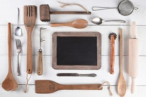 Cooking Utensils and Chalk Board