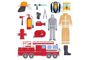 Firefighter elements coloured fire department emergency icons safety equipment protection vector illustration.