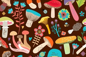Leaves and Mushrooms Pattern