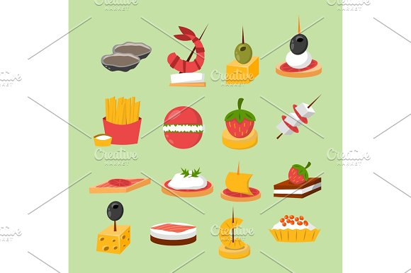 Various Meat Fish Cheese Banquet Snacks On Banquet Platter Canape Snacks Appetizer Delicious Vector