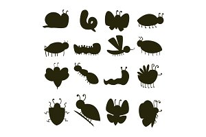 Colorful insects silhouette icons isolated wildlife wing detail caterpillar bugs wild vector illustration.