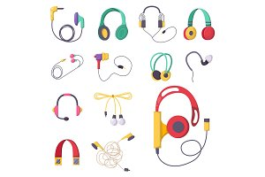 Headphones vector set music technology accessory studio sound design collection dj speaker.