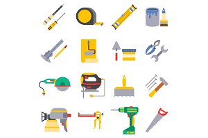 Vector various color flat design house repair instruments equipment icons construction house tools.