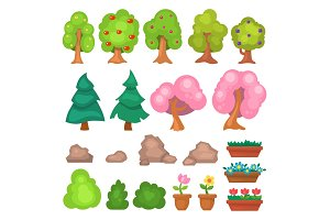 Flowers grass big and small garden trees and flowers game park elements vector illustration.