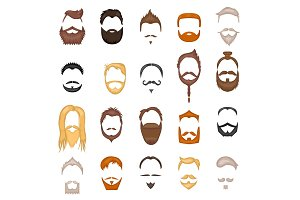 Beard and hair man face mask hairstyle cartoon vector collection