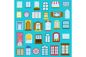 Different house opened windows vector elements collection isolated illustration
