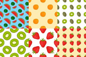 Cartoon fresh fruits in flat style seamless pattern food summer design wallpaper vector illustration.