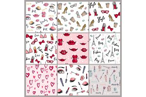 Stylish vintage motive fashion seamless pattern pink cosmetics accessories vector illustration.