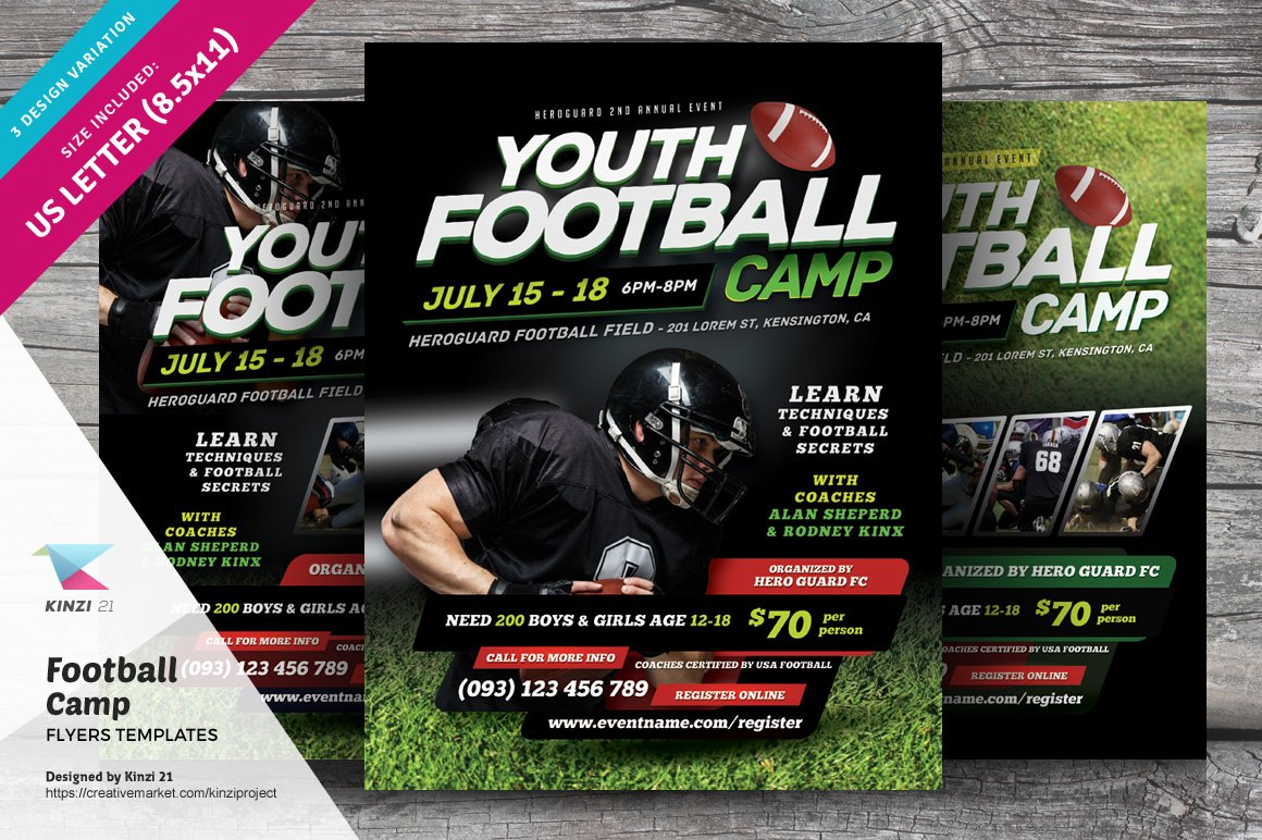 football camp flyer templates flyer templates creative market. Black Bedroom Furniture Sets. Home Design Ideas